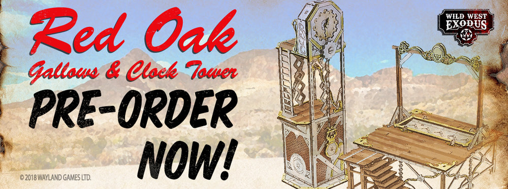 Wild West Exodus Red Oak Gallows And Clock Scenery Set