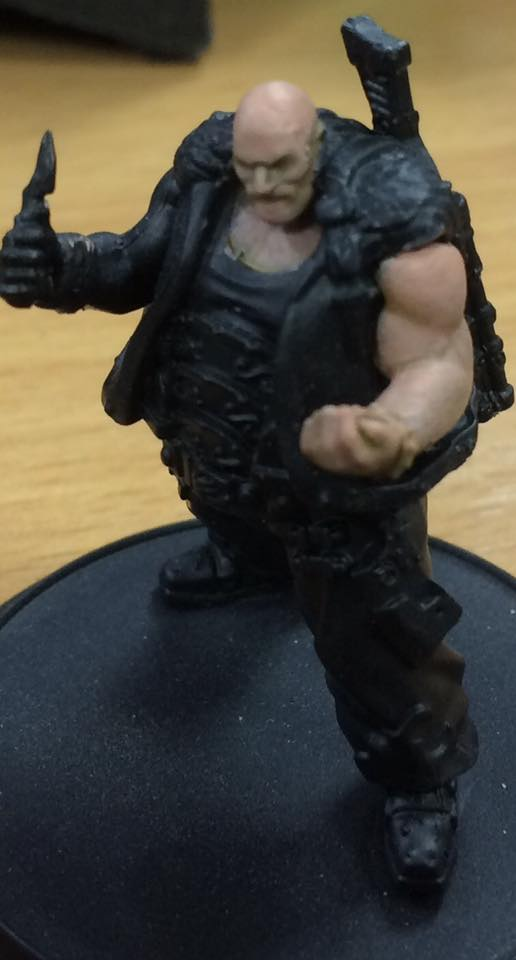Highlight the muscles with a thin coat (3-1) of Midlund Flesh. Aim the highlights to cover two thirds of the surface and feather the edges out.