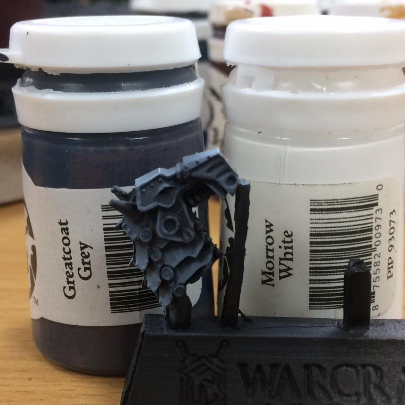 For the next stage add white until you have a 50/50 mix. This is then watered down a wee bit more to around 5-1.  This is placed quite roughly. Add a few flicks and streaks to break up large flat area to simulate dents and light blooms.