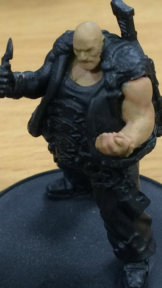 Glaze (7-1) the skin with Skorne Red. Do not allow this to pool up.