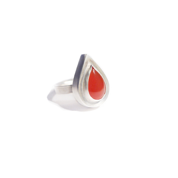 Silver and carnelian 'Elevated' tear shaped ring