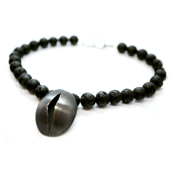Oxidised silver 'Origins' necklace with large lava beads