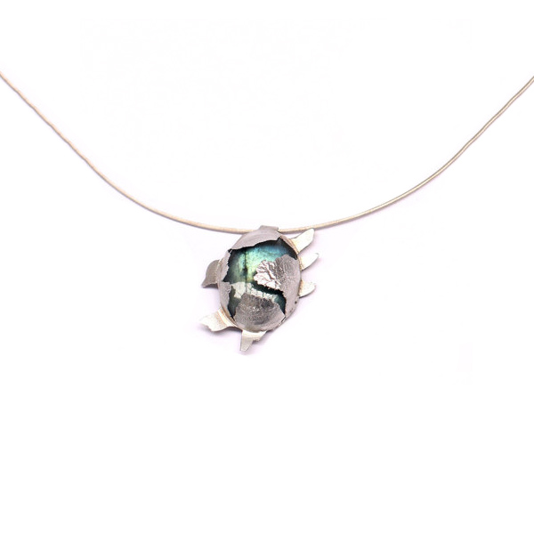 Silver and labradorite 'Burst' pendant on silver snake chain