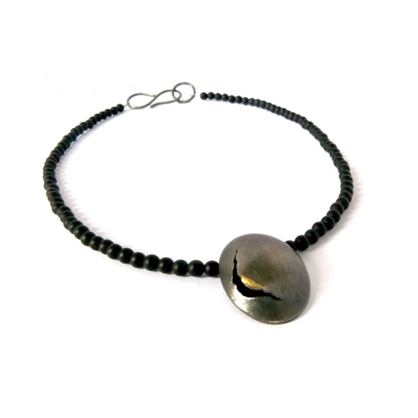Oxidised silver fused 18ct gold 'Origins' necklace with matt onyx beads