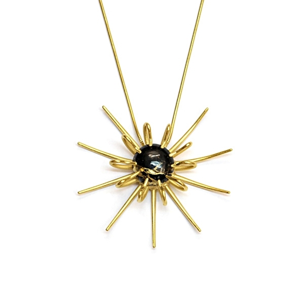 Gold vermeil and black copper obisdian 'Aulacantha' necklace.