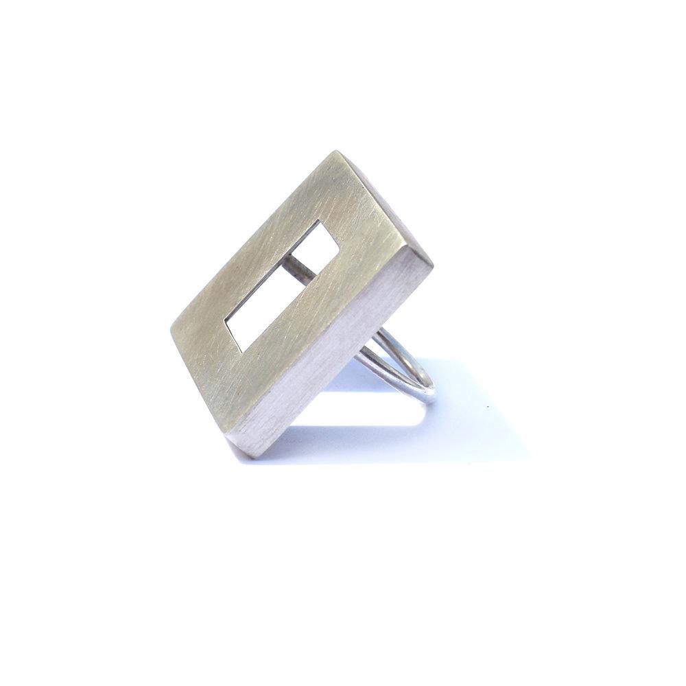 Silver cuboid ring