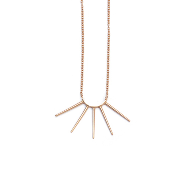 Rose gold vermeil five spike necklace