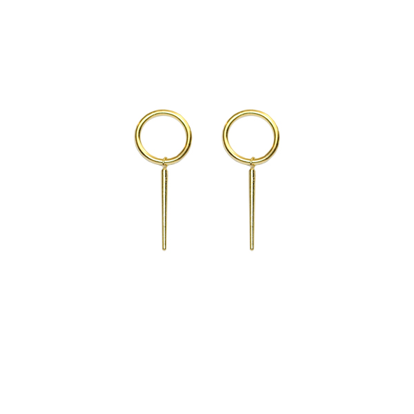 Gold vermeil 'O' stud earrings