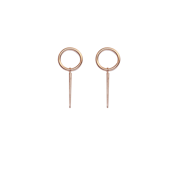 Rose gold vermeil 'O' stud earrings