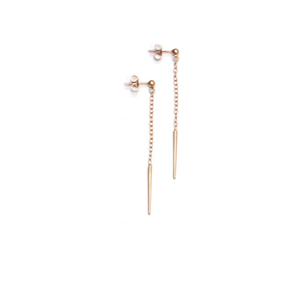 Rose gold vermeil dangling spike stud earrings