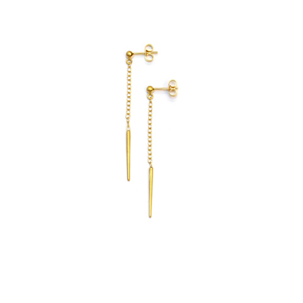 Gold vermeil dangling spike stud earrings