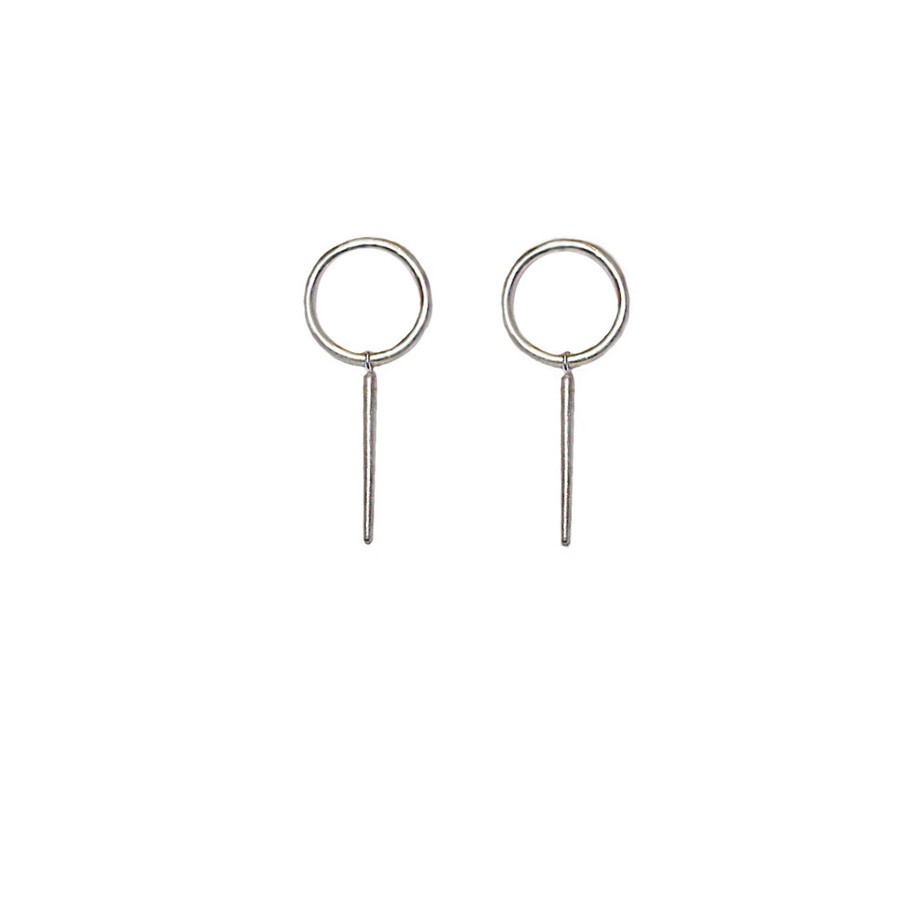 Silver 'O' stud earrings