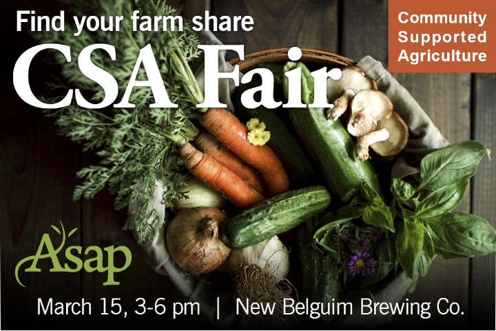 Come check out our 2018 CSA program!Fair goers will have the opportunity to browse different CSA programs and talk directly with farmers about their offerings. Farms will be set up at individual tables like a farmers market and will share information about their CSA programs, including what products they offer, where and when they deliver, and about their growing practices. The CSA Fair is a great way to learn more about how CSAs work and to meet your local farmers. Hosted at New Belgium Brewing Co., this event is FREE and open to the public!