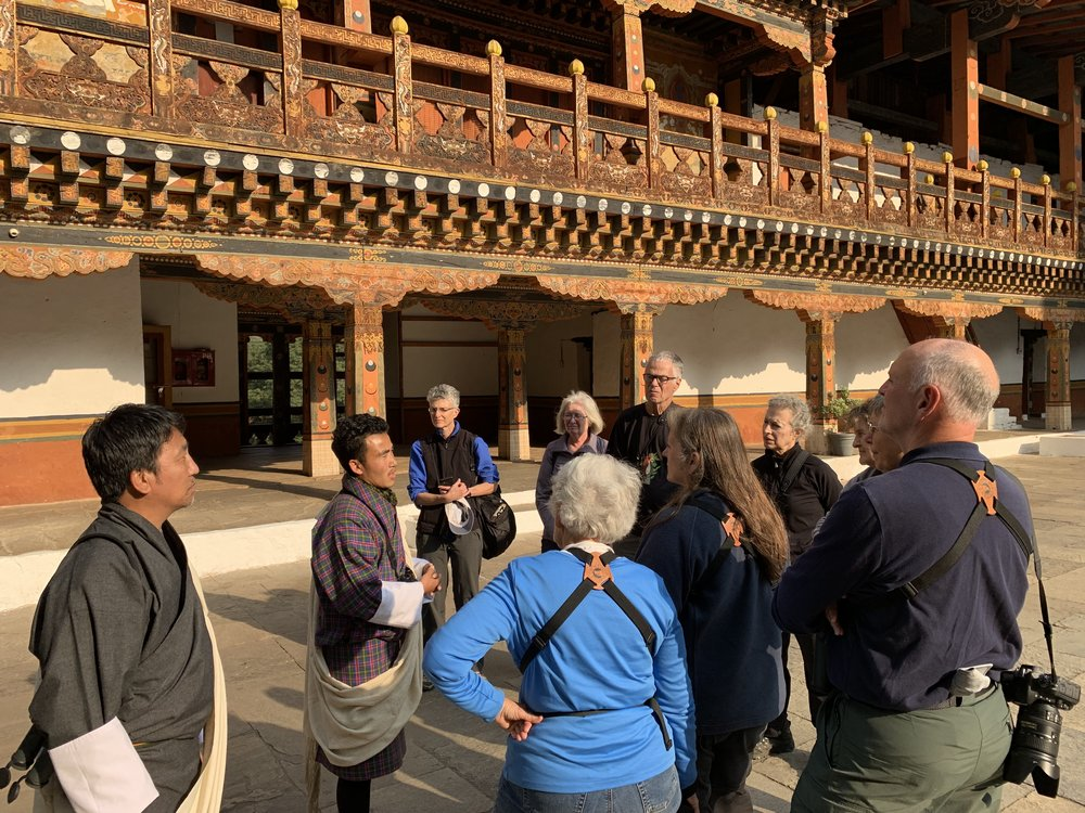 A cultural interlude, visiting Punakha Dzong, during our spectacular November Bhutan tour.