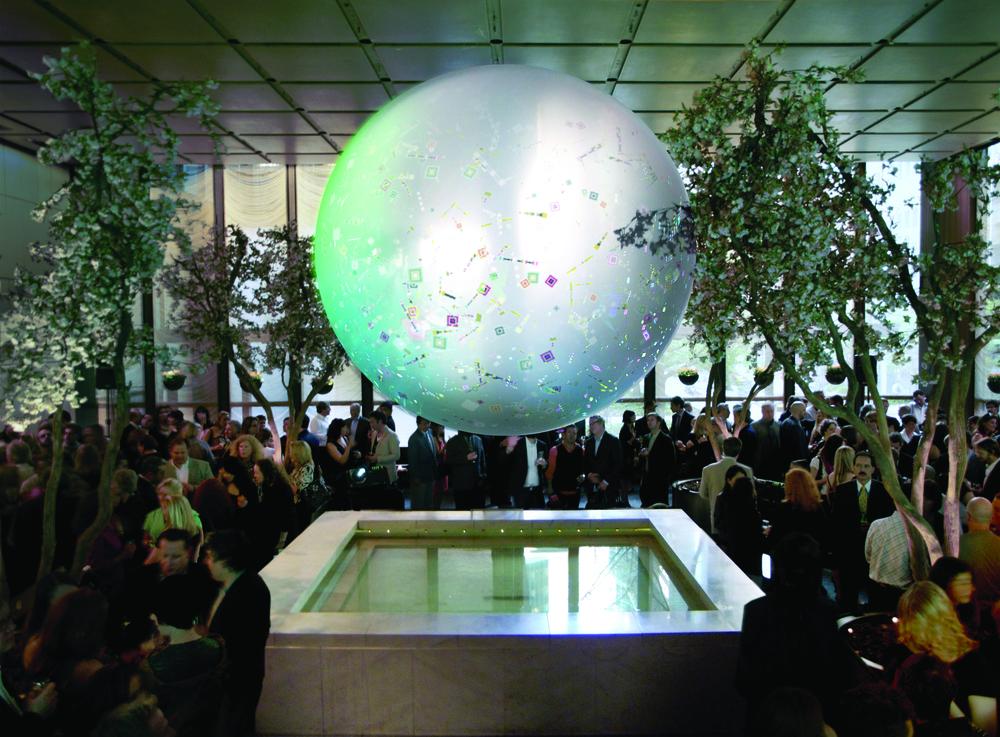 Metropolitan Home 100 Gala   Digital Confetti transforms the pool room at the Four Seasons
