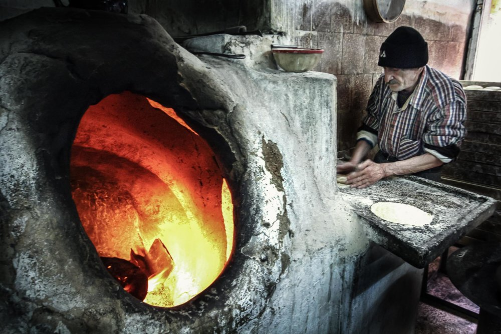 The Boss preparing the dough before it ends up in the kiln (Damascus).