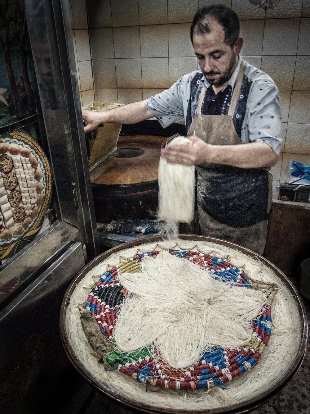 Stringy, sweat baklava in the making (Aleppo)