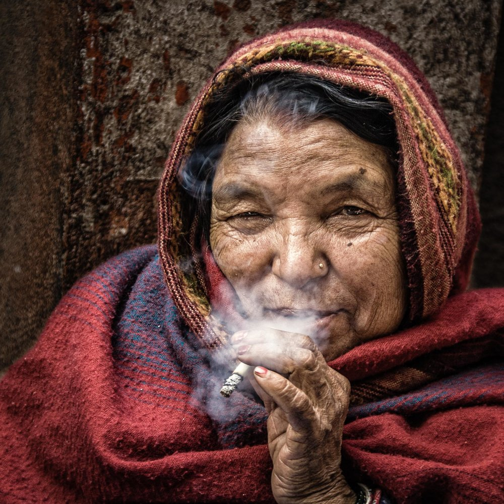 A non-candid Street Portrait where the lady was aware of me. (Kathmandu, Nepal)