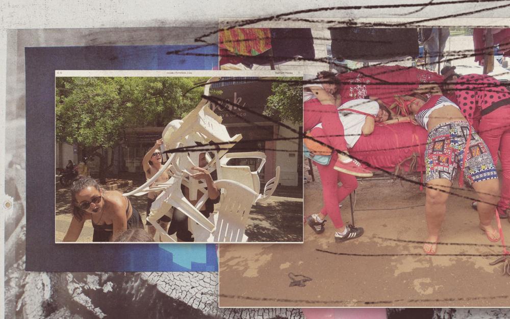 Experimentações corporais como elementos poéticos de performance/Fuleragem com integrantes do Grupo Corpos Informáticos (DF), que pesquisa a arte contemporânea e se locomove entre fotografia, composição urbana, performance e web e vídeoarte desde 1991.