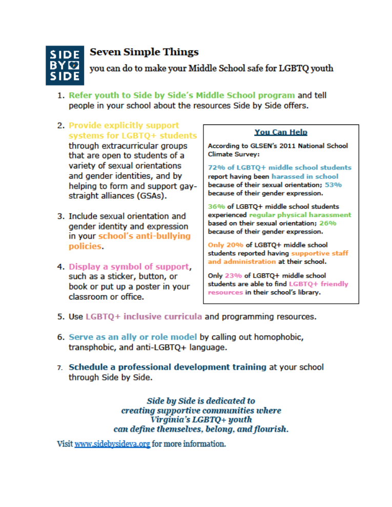 Seven Simple Things you can do to make your Middle School safe for LGBTQ+ youth