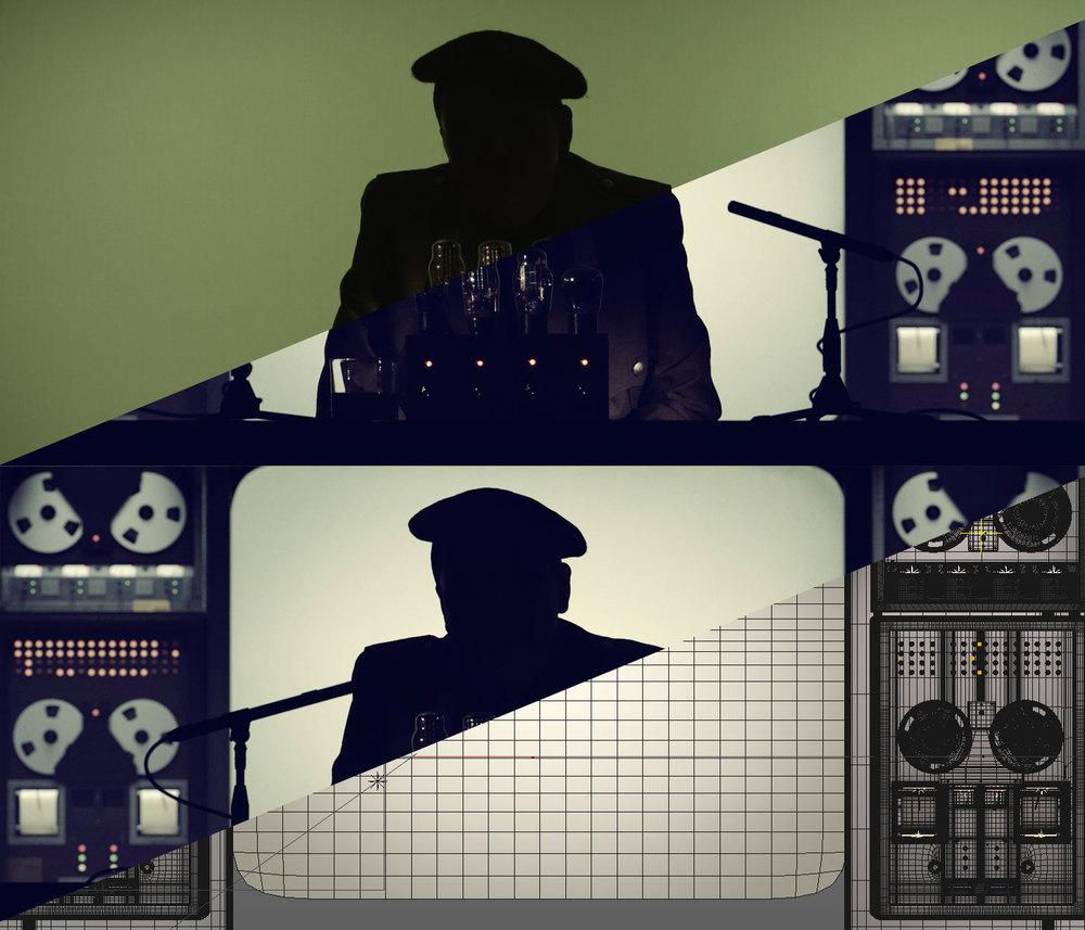 Green screen comp (above) / CGI comp (below)