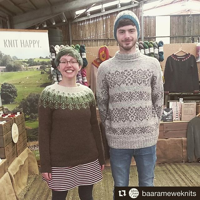 #Repost @baarameweknits with @get_repost ・・・ Kitted up in our cosy jumpers! Graeme and Katherine are here at Yarndale on stand H122, see you at 10am! #yarndale #baaramewe #baarameweknits
