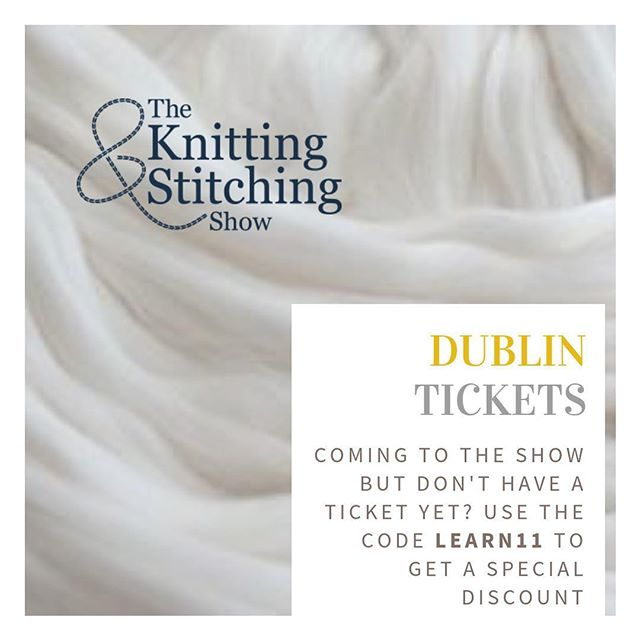 If you're coming to see me in Dublin this year get yourself a cheeky discount off the tickets with this code. ⠀ .⠀ .⠀ .⠀ .⠀ .⠀ .⠀ .⠀ .⠀ .⠀ #knittingandstitchingshow #dublin #dublin2018 #crochet #yarn #wool #learning #experience #newthings #stricken #dublinknittingandstitchinhshow
