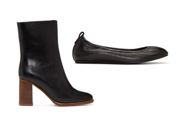 A.P.C. Flavie Ankle Boots, $590;Lanvin Smooth Leather Ballet Flats, $550.