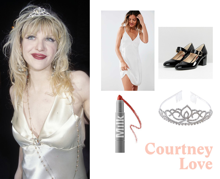 Dress, $69, Urban Outfitters; MILK lipstick, $22, Sephora; tiara, $14.99, Amazon; Mary Jane shoes, $73, ASOS;