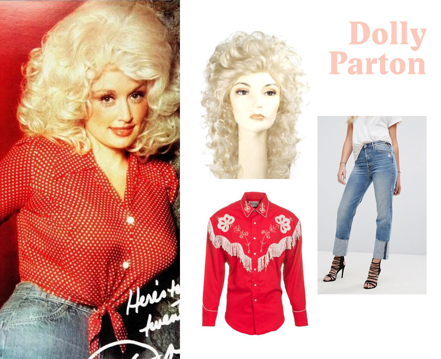 Shirt, $87.99, The Western Company; wig, $26.99, City Costume Wigs.