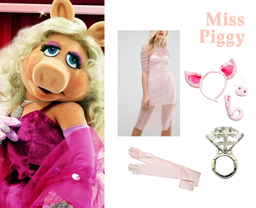 Dress, $48, ASOS; ears, nose and tail, $10.95, Amazon; gloves, $5.95, Amazon
