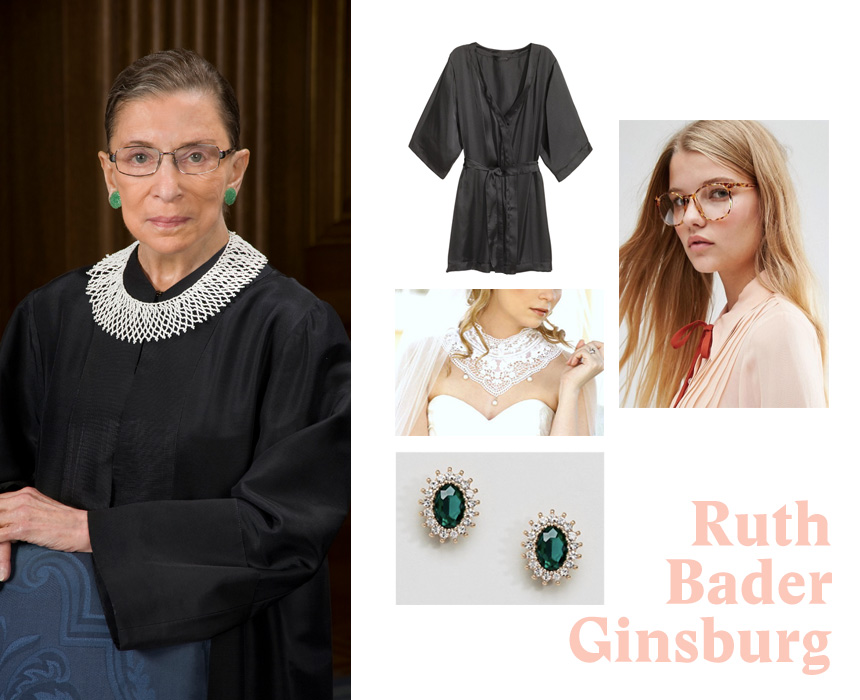 Kimono, $24.99, H&M; lace collar, $28, Etsy; glasses, $13, ASOS; earrings, $13, ASOS.
