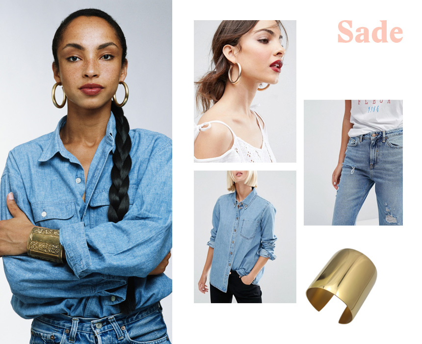 Shirt, $32, ASOS; jeans, $40, ASOS; earrings, $16, ASOS; bangle, $12.90, Amazon.