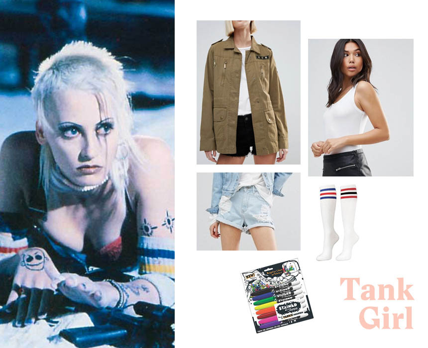 Tank top, $36, ASOS; jacket, $98, ASOS; socks, $16.90, Amazon; shorts, $56, ASOS.