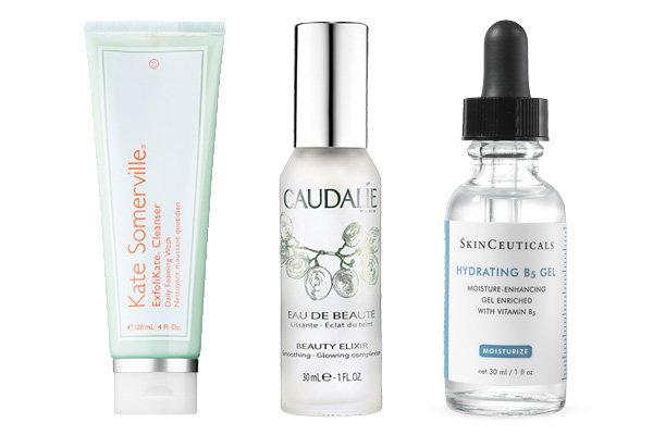 Kate Somerville ExfoliKate Cleanser Daily Foaming Wash, $38; Caudalie Beauty Elixir, $49; SkinCeuticals Hydrating B5 Gel $82.