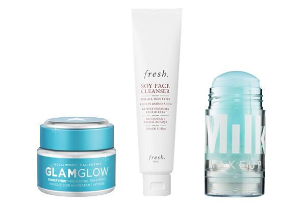 GlamGlow ThirstyMud Hydrating Treatment , $24;  Fresh Soy Face Cleanser , $38;  Milk Makeup Cooling Water , $24