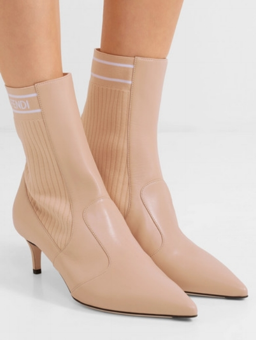 Fendi leather ribbed stretch-knit sock boots, $900