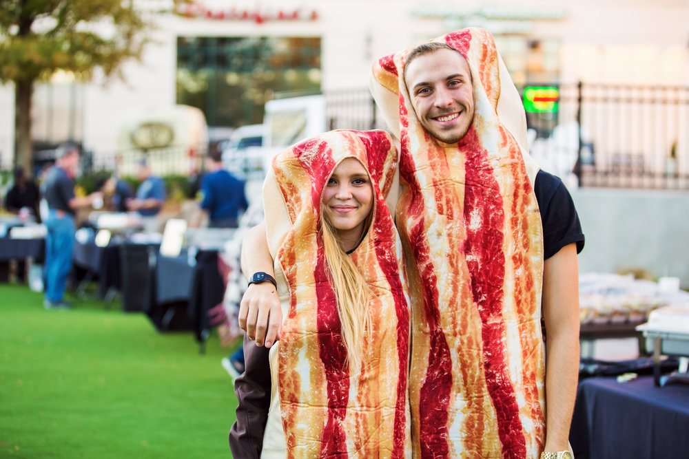 Two of our team members dressed as Bacon for the Beer and Bacon Fest!