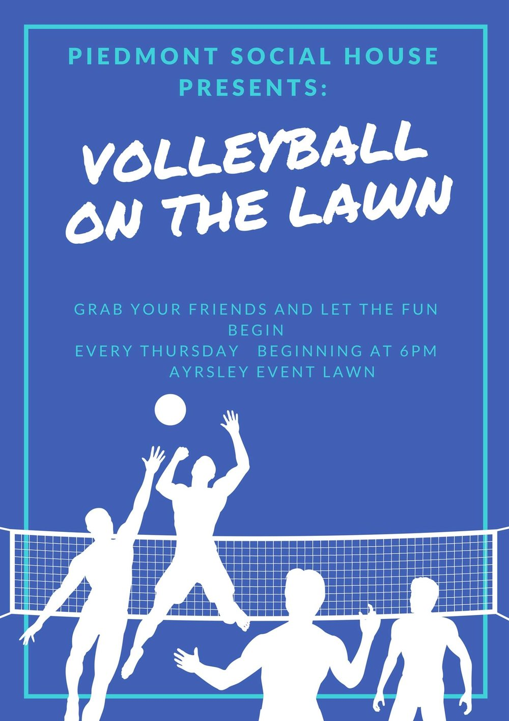 Volleyball on the Lawn  - Grab your friends and let the fun begin!Every Thursday beginning at 6pm.Ayrsley Event Lawn