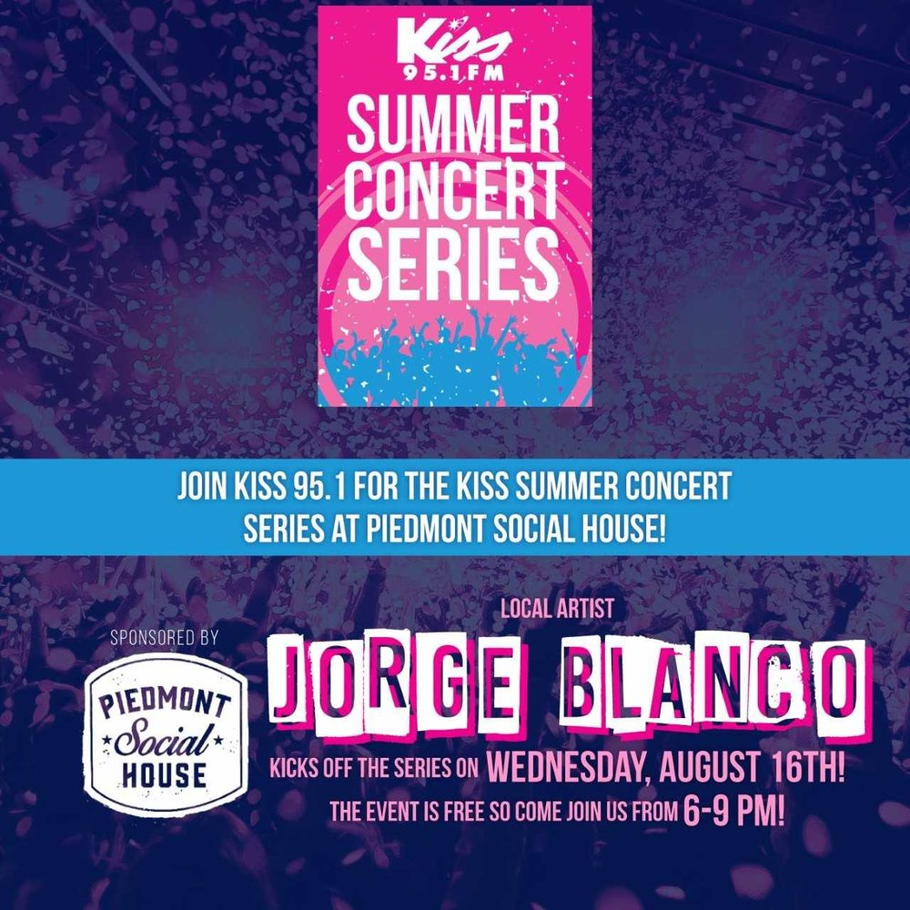 Jorge Blanco - Who doesn't enjoy a free concert? Join us for the third installment in our Summer Concert Series hosted by Kiss 95.1.Enjoy the sweet serenades of Jorge Blanco. This event is free to the public and will go on rain or shine.