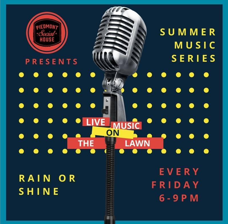 Music on the Lawn  - Jump and jive your way into the weekend with our Friday night live music series.Discover some new local sounds with all of your friends around.This event is rain or shine from 6 - 9 PM. Ayrsley Event Lawn