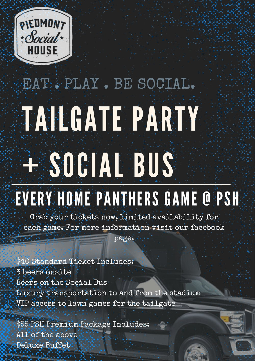 Keep Pounding!! - Roundtrip transportation in a luxury vehicleDrink specials before and after the game atPiedmont Social HouseExclusive VIP Tailgate area including lawn gamesOur tailgate begins at 11am with the bus departing for uptown at 12:20 pmThe bus will pick all patrons up in the designated area at 5pm.THIS EVENT DOES NOT INCLUDE TICKETS TO THE PANTHERS GAME