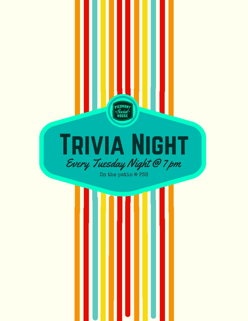 Trivia Night - Put on your thinking caps and join us for a night of fun and friendly competition. Bring a crew and tackle trivia questions covering General Knowledge, Current Events, Movies, Music, Game Shows & more. PRIZES WILL BE AWARDED!Eat. Play. Be Social.
