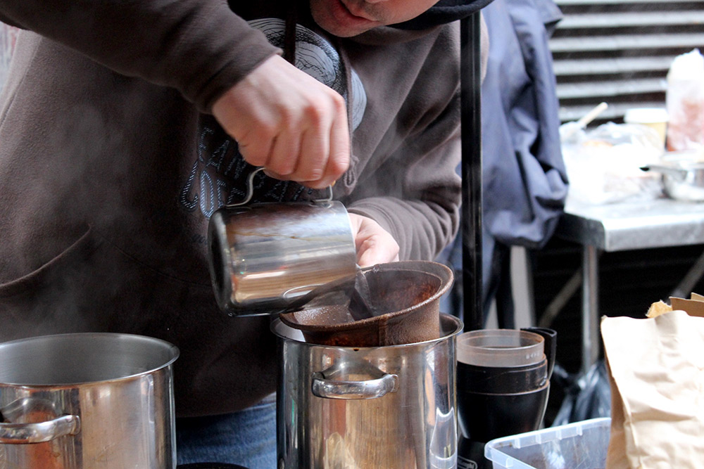 Gary from Beanbag Coffee in mid flow.