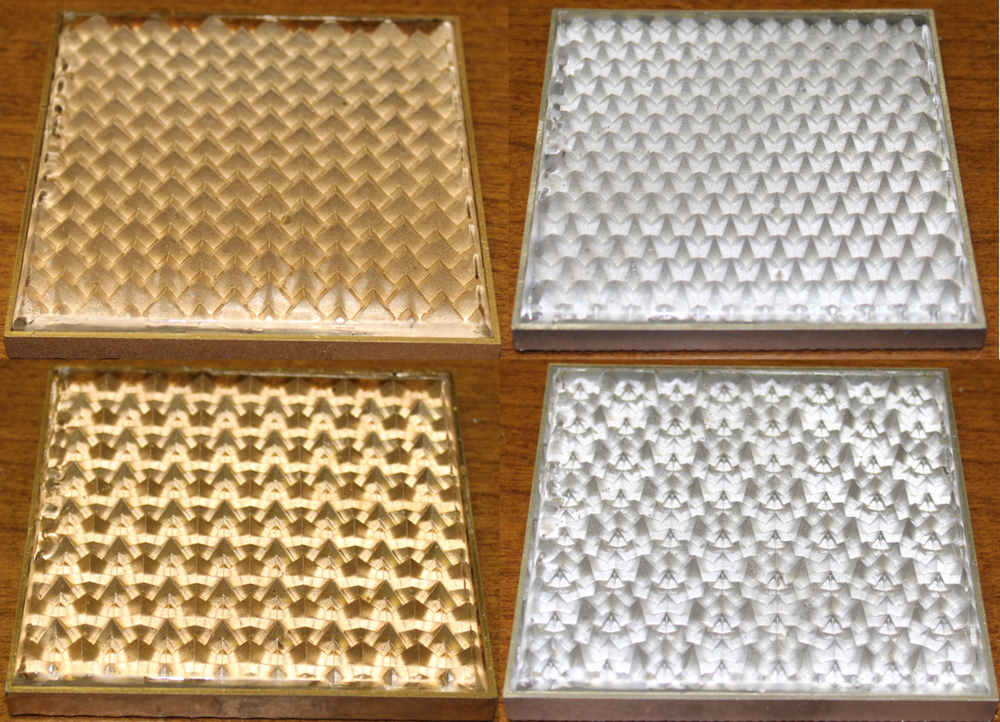 Figure 9. Prototype tiles one through four with an added clear acrylic layer.