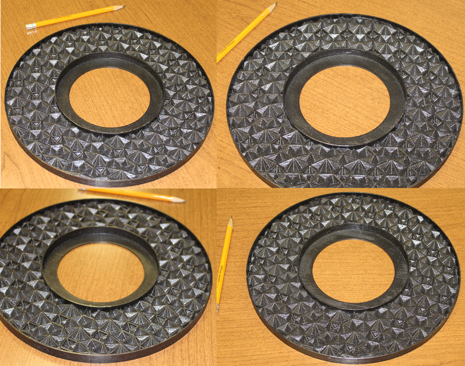 Figure 1. Pictures taken from four different view angles of a first ceiling medallion prototype created using an isosceles triangle truncating object with a 45° non-congruent angle and 0° truncation rotation