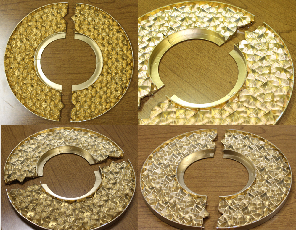 Figure 3. Pictures taken from four different view angles of a third ceiling medallion prototype created using an isosceles triangle truncating object with a 45° non-congruent angle and 15° truncation rotation