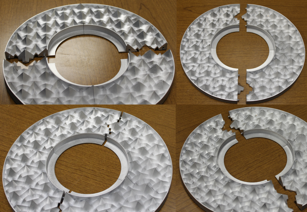 Figure 4. Pictures taken from four different view angles of a fourth ceiling medallion prototype created using a right isosceles triangle truncating object with a 15° truncation rotation