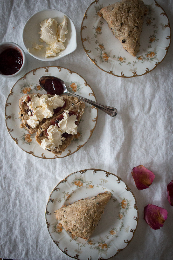 Currant Flaxseed Scones with Jam and Clotted Cream | Linden & Lavender
