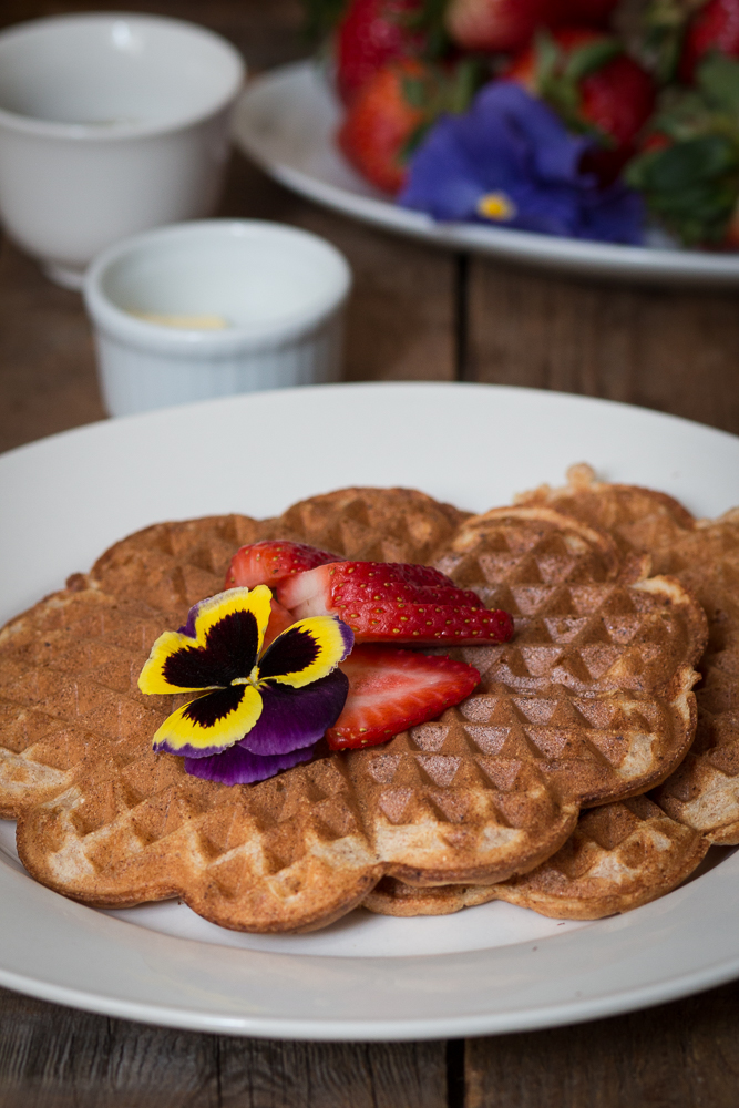 Waffles with Pansy Decoration